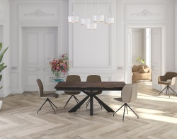 DINING TABLE OTTAWA STEEL CERAMICS BLACK LACQUERED STEEL 190/270x100x76 CM (DT041SD)