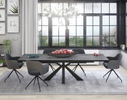DINING TABLE OTTAWA TITANIUM CERAMICS BLACK LACQUERED STEEL 190/270x100x76 CM (DT041TI)