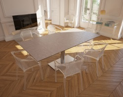 DINING TABLE PANAMA ARGILE CERAMICS BRUSHED STAINLESS STEEL 130/200x100x75 CM (DT022AR)