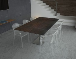 DINING TABLE PANAMA STEEL CERAMICS BRUSHED STAINLESS STEEL 130/200x100x75 CM (DT022SD)