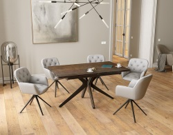 DINING TABLE PAPYRUS STEEL CERAMICS BLACK LACQUERED STEEL 150x90/150x76 CM (DT087SD)