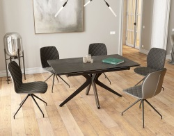 DINING TABLE PAPYRUS TITANIUM CERAMICS BLACK LACQUERED STEEL 150x90/150x76 CM (DT087TI)