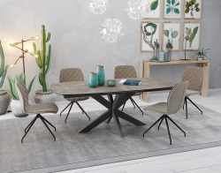 DINING TABLE PHOENIX ARGILE CERAMICS BLACK LACQUERED STEEL 200/260x100x76 CM (DT070AR)