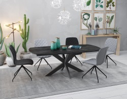 DINING TABLE PHOENIX TITANIUM CERAMICS BLACK LACQUERED STEEL 200/260x100x76 CM (DT070TI)