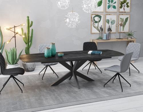Excellent Dining Table Phoenix Titanium Ceramics Black Lacquered Steel Onthecornerstone Fun Painted Chair Ideas Images Onthecornerstoneorg