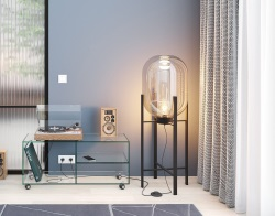 LIGHTING GEMINI - LAMPADAIRE CLEAR BLACK LACQUERED STEEL Dia. 30 x H90 (LA075)