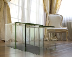 NEST OF TABLES OLIVEA UK CLEAR HOT BENT GLASS 34/38/42 CM (NT005)