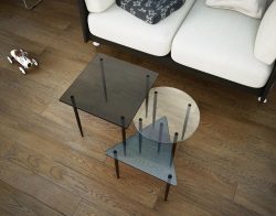SIDE TABLE ALESIA BLUE - CRYSTAL - GREY TINTED GLASS BLACK EPOXY PAINTED STEEL 45 / 40 / 35 CM (ET080)
