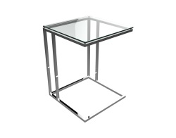 SIDE TABLE ALICIA CLEAR POLISHED STAINLESS STEEL 50x50x66 CM (ET060C)