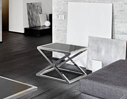 SIDE TABLE ARUNA LACQUERED BLACK POLISHED STAINLESS STEEL 56x56x47 CM (ET032LB)