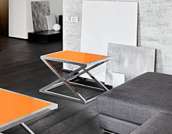 SIDE TABLE ARUNA LACQUERED ORANGE POLISHED STAINLESS STEEL 56x56x47 CM (ET032LO)