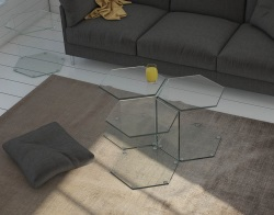 SIDE TABLE CLARA CLEAR HOT BENT GLASS 41,6x48x42 CM (ET052C)