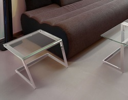 SIDE TABLE CONDUCTION CLEAR POLISHED STAINLESS STEEL 45x45x42 CM (ET036C)