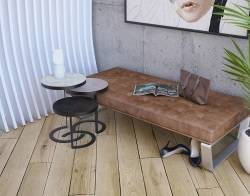 SIDE TABLE EUREKA MAT MARBLE CERAMICS BLACK LACQUERED STEEL 40X40X45 CM (ET226MA)