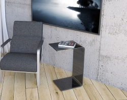 SIDE TABLE EVA TINTED GREY HOT BENT GLASS 45x31.5x66 CM (ET065G)