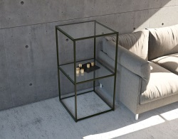 SIDE TABLE JULIA - COLONNE CLEAR BLACK EPOXY PAINTED STEEL 53x50x100 CM (SH010CS)