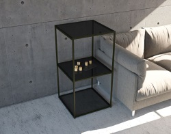 SIDE TABLE JULIA - COLONNE TINTED GREY BLACK EPOXY PAINTED STEEL 53x50x100 CM (SH010GS)