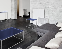 SIDE TABLE JULIA BLUE TINTED BRUSHED STAINLESS STEEL 50x50x50 CM (ET182B)
