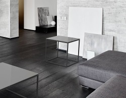 SIDE TABLE JULIA LACQUERED GREY BLACK EPOXY PAINTED STEEL 50x50x50 CM (ET180LG)