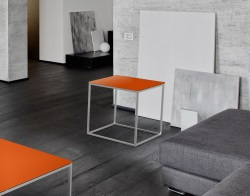 SIDE TABLE JULIA LACQUERED ORANGE BRUSHED STAINLESS STEEL 50x50x50 CM (ET182LO)