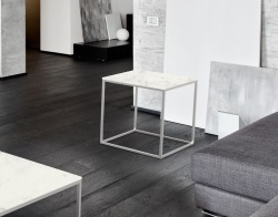 SIDE TABLE JULIA MARBLE CERAMICS BRUSHED STAINLESS STEEL 50x50x50 CM (ET182CM)