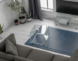 SIDE TABLE MIKA CRYSTAL HOT BENT GLASS 54x51x50 CM (ET075)