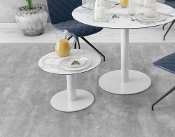 SIDE TABLE ORLANDO MAT MARBLE CERAMICS WHITE LACQUERED STEEL Ø55X40 CM (ET512MA)