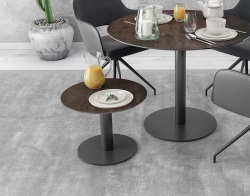 SIDE TABLE ORLANDO STEEL CERAMICS BLACK LACQUERED STEEL Ø55X40 CM (ET510SD)