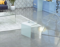 SIDE TABLE SEURAT WHITE HOT BENT GLASS 42x42x42 CM (ET078W)