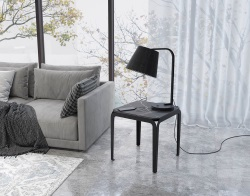 SIDE TABLE SUMATRA BLACK MARBLE BLACK LACQUERED STEEL 50 x 50 x H50 CM (ET800BM)