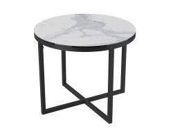 SIDE TABLE TALIA LAQUÉ MAT MARBLE CERAMICS BLACK LACQUERED STEEL Ø55x45 CM (ET022MA)