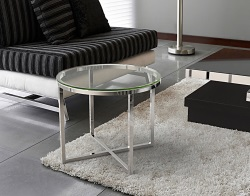 SIDE TABLE TALIA CLEAR POLISHED STAINLESS STEEL Ø55x45 CM (ET023C)
