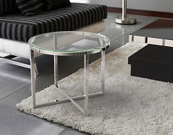 SIDE TABLE TALIA CRYSTAL POLISHED STAINLESS STEEL Ø55x45 CM (ET023R)