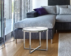 SIDE TABLE TALIA MAT MARBLE CERAMICS POLISHED STAINLESS STEEL Ø55x45 CM (ET023MA)
