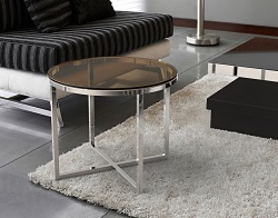 SIDE TABLE TALIA SEPIA POLISHED STAINLESS STEEL Ø55x45 CM (ET023P)