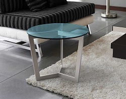 SIDE TABLE TAMARA BLUE TINTED BRUSHED STAINLESS STEEL Ø55x45 CM (ET043B)
