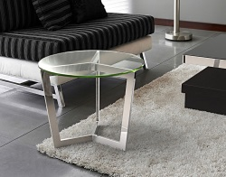 SIDE TABLE TAMARA CLEAR POLISHED STAINLESS STEEL Ø55x45 CM (ET033C)