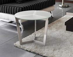 SIDE TABLE TAMARA CRYSTAL ACID ETCHED POLISHED STAINLESS STEEL Ø55x45 CM (ET033RA)