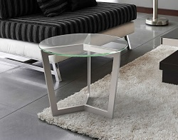 SIDE TABLE TAMARA CRYSTAL BRUSHED STAINLESS STEEL Ø55x45 CM (ET043R)