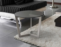 SIDE TABLE TAMARA GREY TINTED ACID ETCHED BRUSHED STAINLESS STEEL Ø55x45 CM (ET043GA)