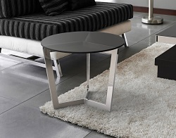 SIDE TABLE TAMARA GREY TINTED ACID ETCHED POLISHED STAINLESS STEEL Ø55x45 CM (ET033GA)