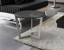 SIDE TABLE TAMARA LACQUERED GREY BRUSHED STAINLESS STEEL Ø55x45 CM (ET043G)