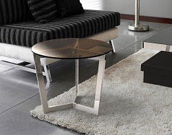 SIDE TABLE TAMARA SEPIA POLISHED STAINLESS STEEL Ø55x45 CM (ET033P)