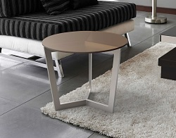 SIDE TABLE TAMARA SEPIA TINTED ACID ETCHED BRUSHED STAINLESS STEEL Ø55x45 CM (ET043PA)
