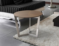 SIDE TABLE TAMARA SEPIA TINTED ACID ETCHED POLISHED STAINLESS STEEL Ø55x45 CM (ET033PA)
