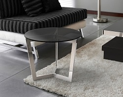 SIDE TABLE TAMARA TINTED GREY POLISHED STAINLESS STEEL Ø55x45 CM (ET033G)
