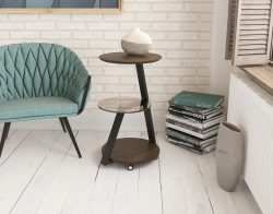 SIDE TABLE TAO WALNUT BLACK LACQUERED STEEL 40 x 40 x70 cm (ET100N)