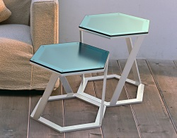 SIDE TABLE TWIST BLUE TINTED ACID ETCHED BRUSHED STAINLESS STEEL 48x48x45,8 CM (ET038BA)