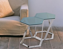 SIDE TABLE TWIST BLUE TINTED ACID ETCHED POLISHED STAINLESS STEEL 48x48x45,8 CM (ET035BA)