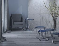 SIDE TABLE TWIST BLUE TINTED ACID ETCHED POLISHED STAINLESS STEEL 48x48x56 CM (ET040BA)